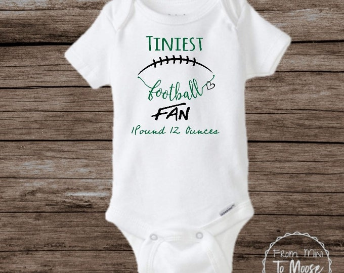 Featured listing image: Preemie football / preemie clothes / nicu clothes / preemie boy / preemie boy bodysuit / preemie girl / preemie girl clothes / bodysuit