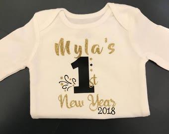 Preemie clothes / preemie girl clothes / personalized bodysuit / preemie boy clothes / preemie New Years / first New Years/ preemie girl