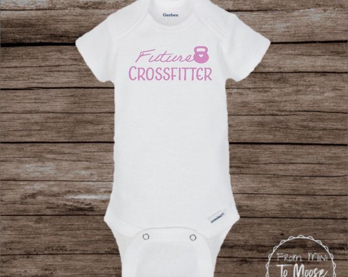 Future Crossfitter /crossfit baby / crosscut / Crossfit mom / athletic baby boy bodysuit/ Newborn crossfire / dumbells / Crossfit dad