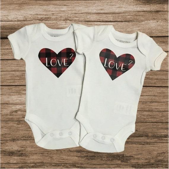 Twin set / twin Valentine's Day / matching / my first Valentine's Day Valentine's day clothes / preemie / preemie girl / preemie boy