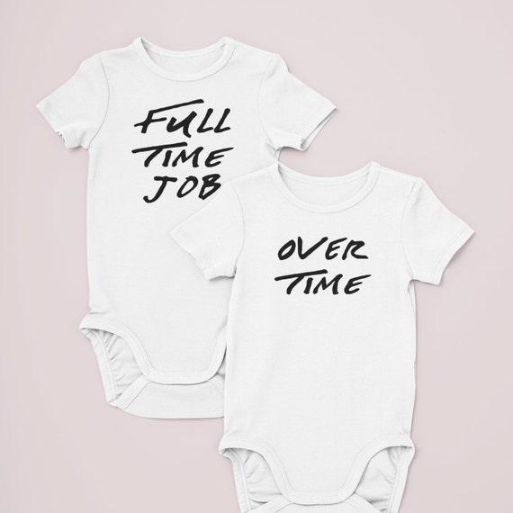 Twin bodysuits / Full Time Job / Over Time / preemie twins / matching twin clothes / preemie twin girls / preemie twin boys / twins
