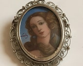 Vintage hand painted beautiful lady brooch pendant in non silver material. Circa 1960 39 s