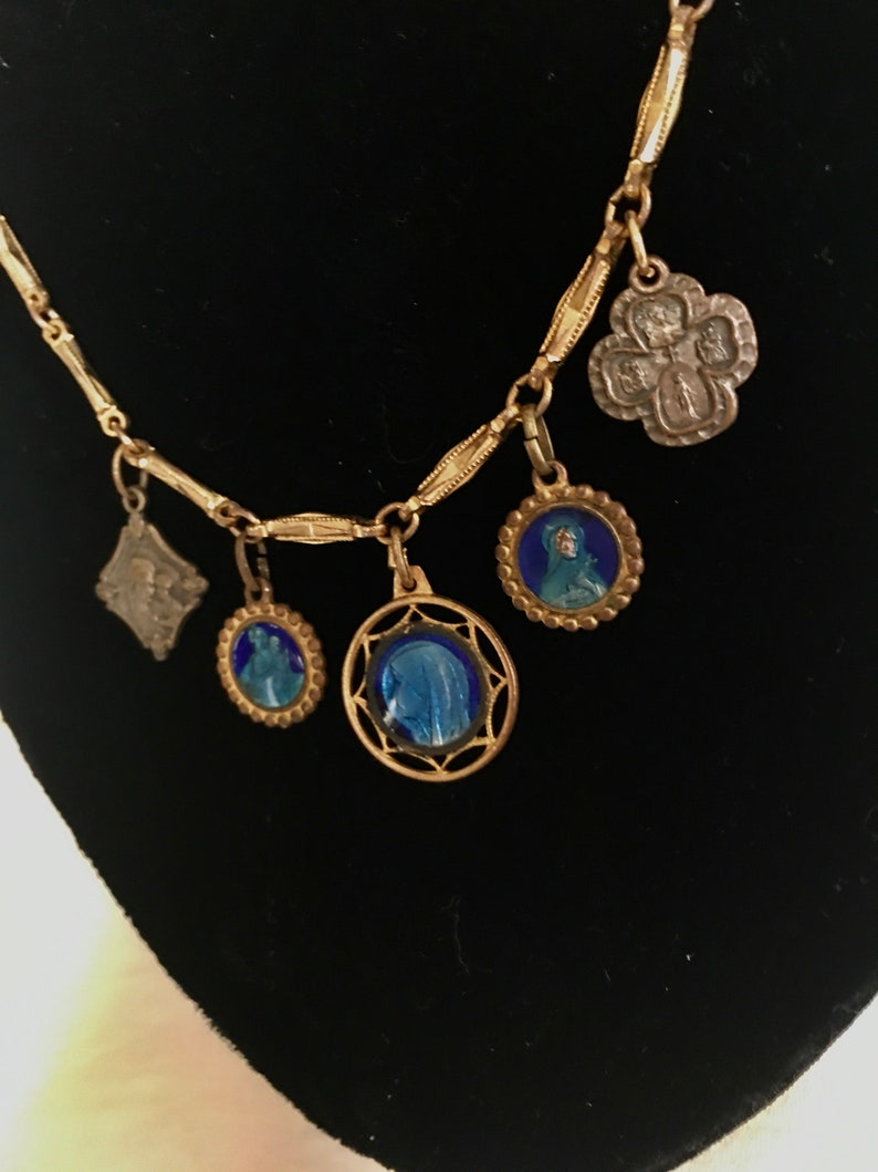 Vintage Choker with charm religious Medallions  in 17 inch chain with 5 antique medals from the 1940\u2019s