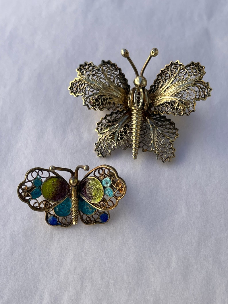 Vintage two butterfly filigree brooch topacio Portugal 925 and 800 circa 1960\u2019s
