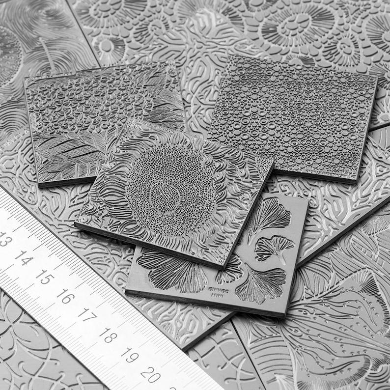 Texture Matt ABSTRACTION#15 Rubber texture Author/'s Texture Metalclay Textured Flat Mold Metal clay Stamp
