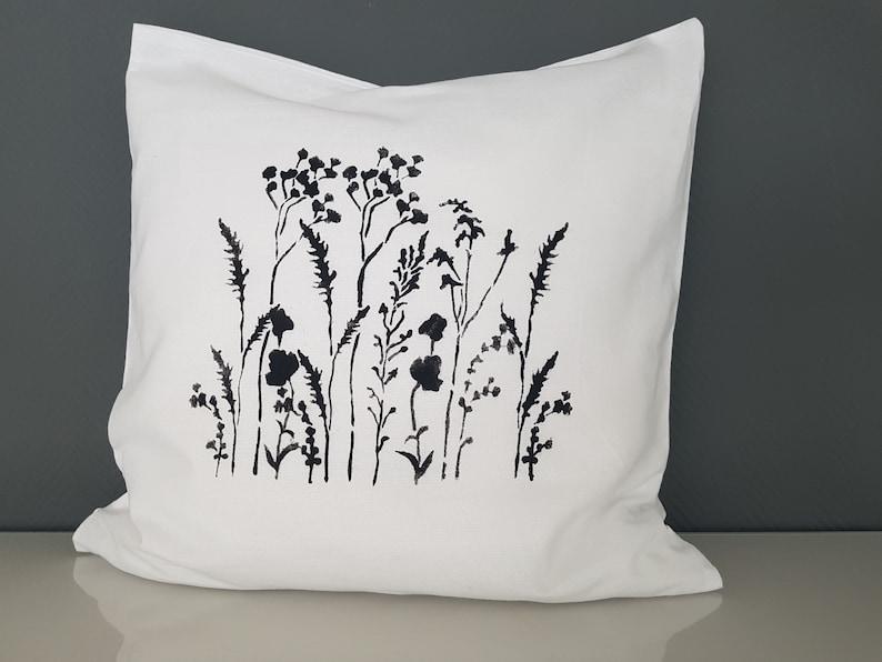 White pillow cover black grasses 40 x 40 cm autumn decoration image 0
