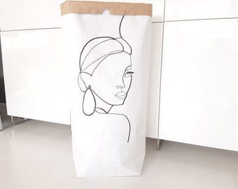 White paper bag, large paper bag, paperbag, paper bag black and white, storage and order, lineart figurine