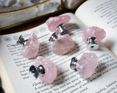 Rose Quartz Drawer Knobs Cupboard Door Handles gemstone pink crystal home decor furniture homeware crystals gemstones silver brass dresser