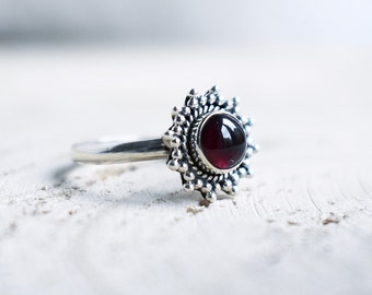 925 Sterling Silver Garnet bohemian style stacking ring boho jewellery jewelry
