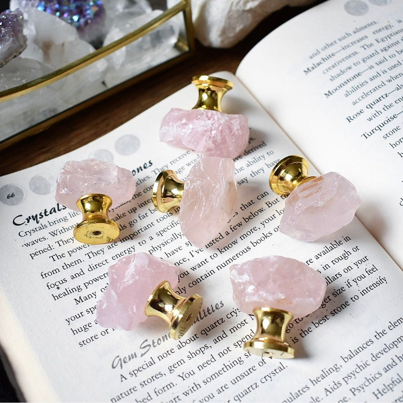 Rose Quartz Drawer Knobs Cupboard Door Handles gemstone pink crystal home  decor furniture pink quartz gold base dresser boho style agate