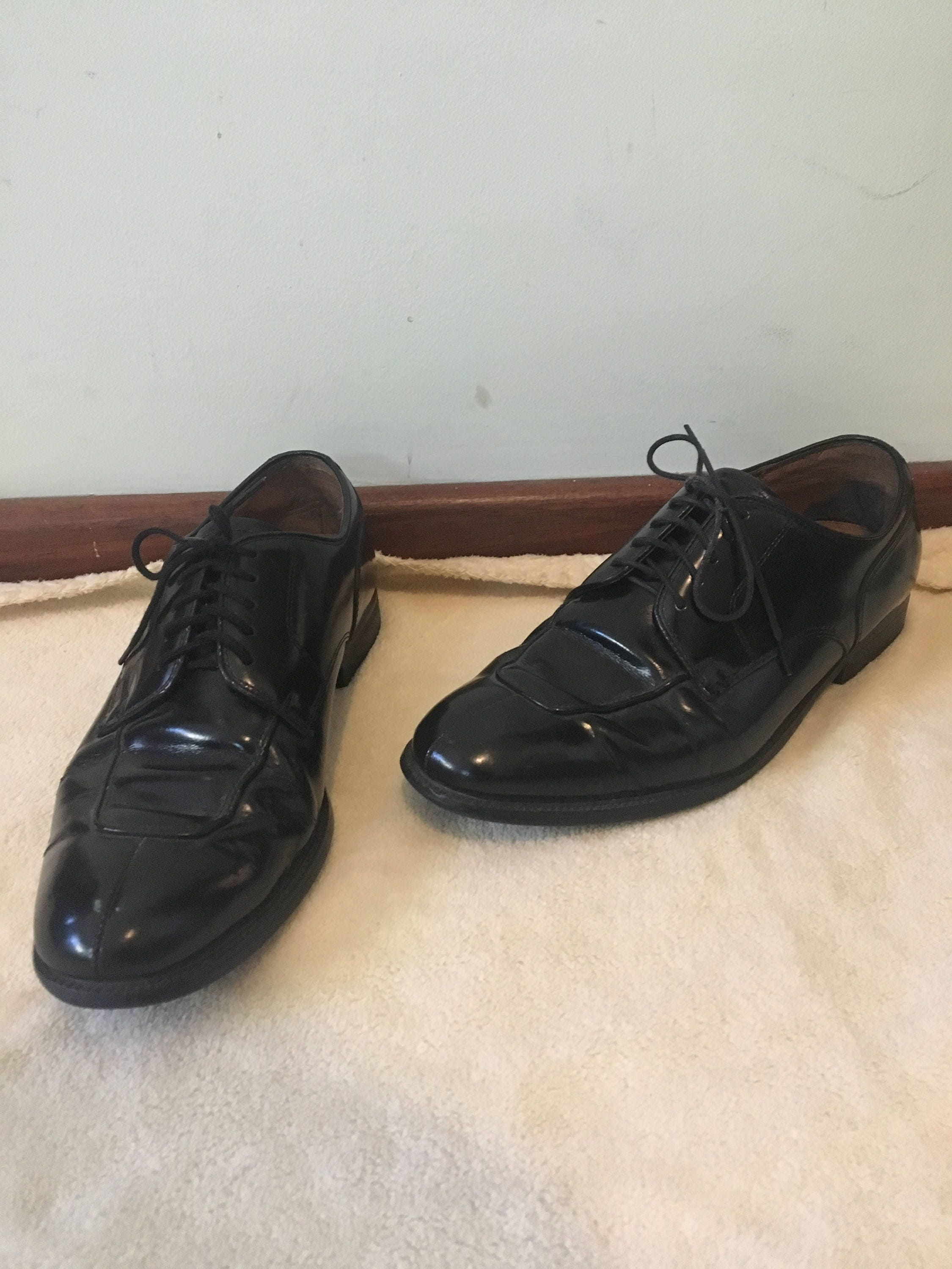 Vintage Regal Mens Black Patent Leather Shoe Mens Regal Size 9.5-10.5 6fa79d