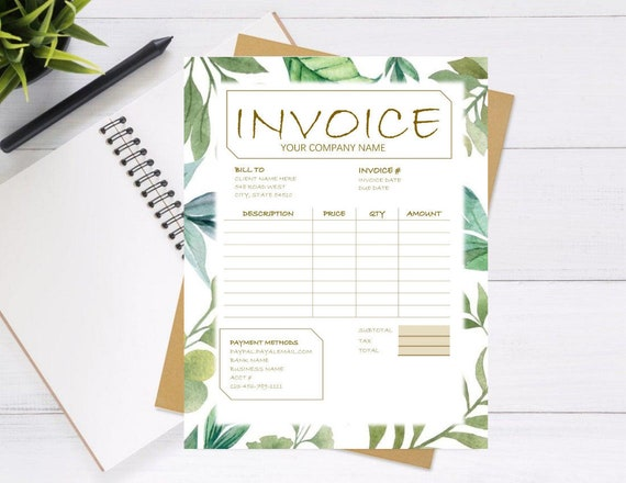 Invoice Template Word Printable Invoice Custom Order Forms Etsy