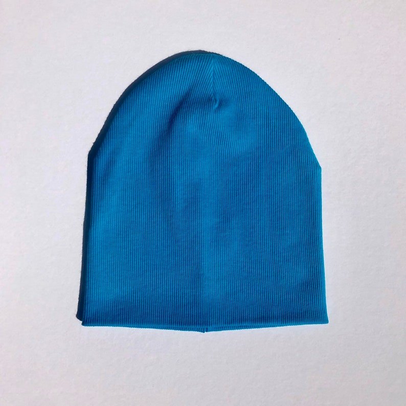 Blue adult beanie  Cotton slouchy hat