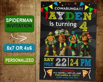 Ninja Turtle Birthday Invitation Turtles Invitations Party DIY