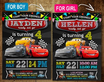Disney Cars Birthday Invitation Invitations Party DIY