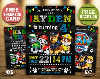 Paw Patrol Birthday Invitation Boy Invitations Party DIY