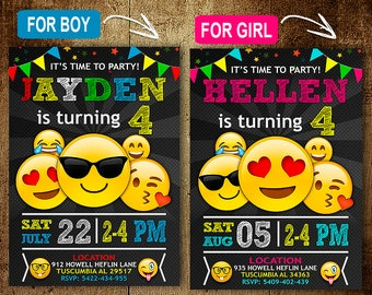 Emoji Birthday Invitation OMG Party DIY