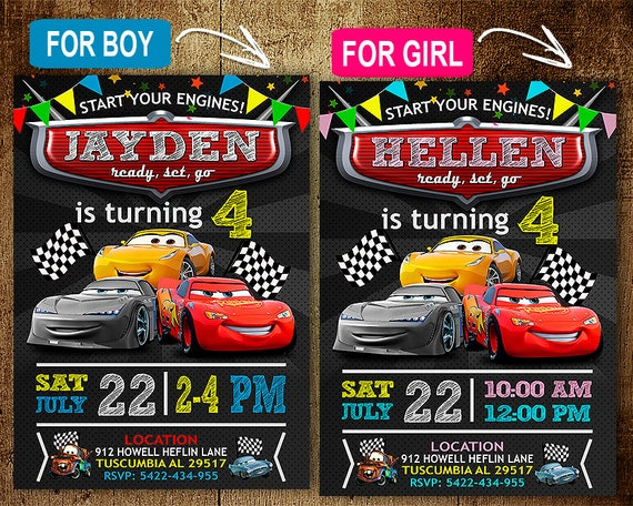 Disney Cars Birthday Invitation Invitations Disney Cars Etsy