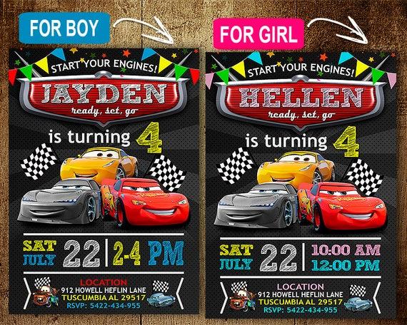 Disney Cars Birthday Invitation Invitations Disney Cars