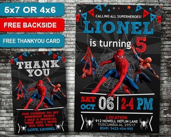 Spiderman Birthday Invitation Invitations Spiderman Etsy