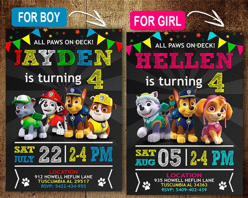 Paw Patrol Birthday Invitation Invitations
