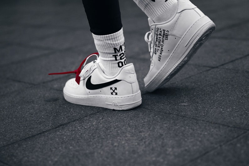 reputable site fa248 413ec Nike Air Force One OFF WHITE custom .   Etsy