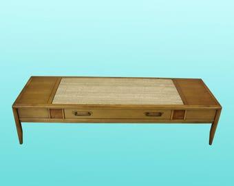 Mid Century Walnut Coffee Table   Vintage Walnut Coffee Table   Granite Top Coffee  Table