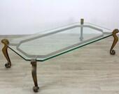 Hollywood Regency Coffee Table, Mid-Century Gilt Table, Metal Gilt Table