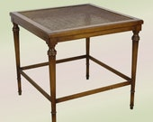 Mid-Century Walnut Side Table With Cane and Glass Top, Walnut End Table, Mid century End Table
