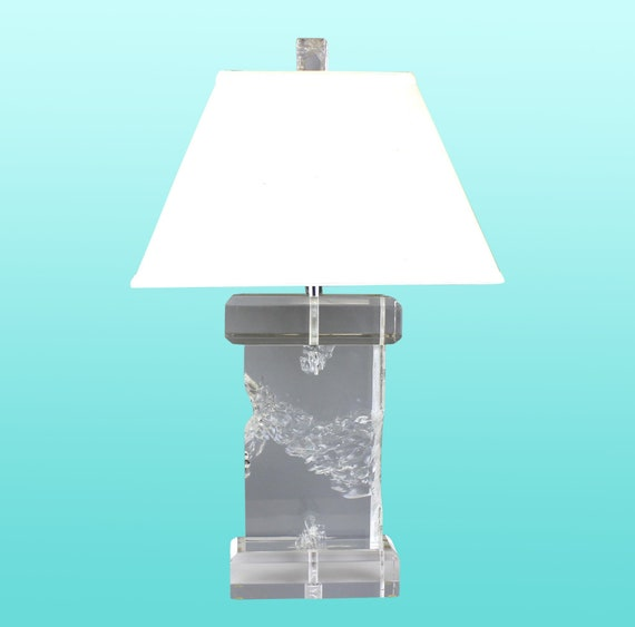 Sculptural Clear Lucite Table Lamp Vintage Lucite Table Lamp