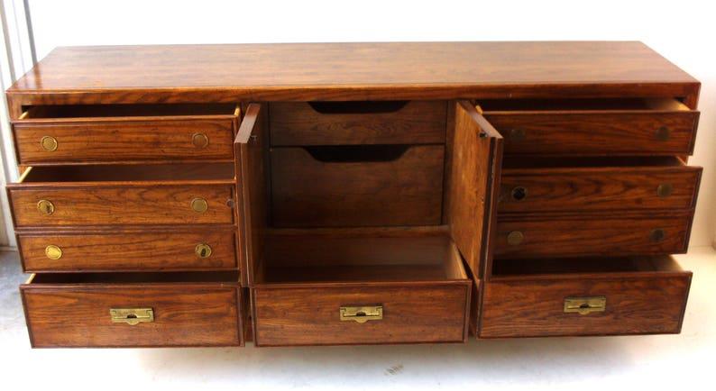 Mid-Century Modern Campaign Style Walnut Dresser