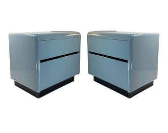Mid-Century Grey Lacquered Nightstands, A Pair