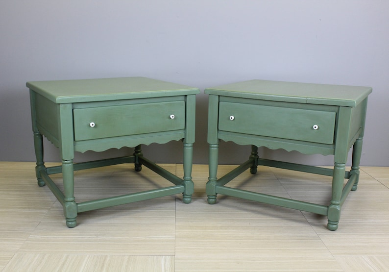 A Pair Vintage Nightstands Mid-Century Country Rustic Nightstands Country Nightstands