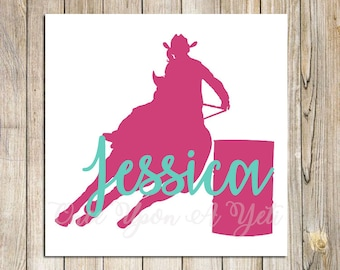 85919ab72f846 Barrel Racer Name Decal | Barrel Racing | Horse Car Decal | Gift For Horse  Lover | Horse Girl | Equestrian Decal | Truck Decal | Rodeo Decal