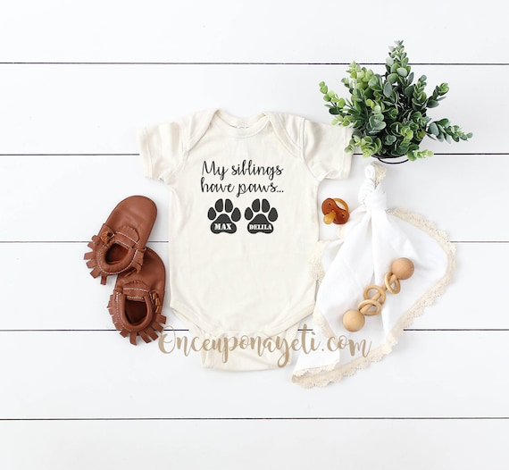 My Siblings Have Paws Baby one piece bodysuit New baby Dog ...