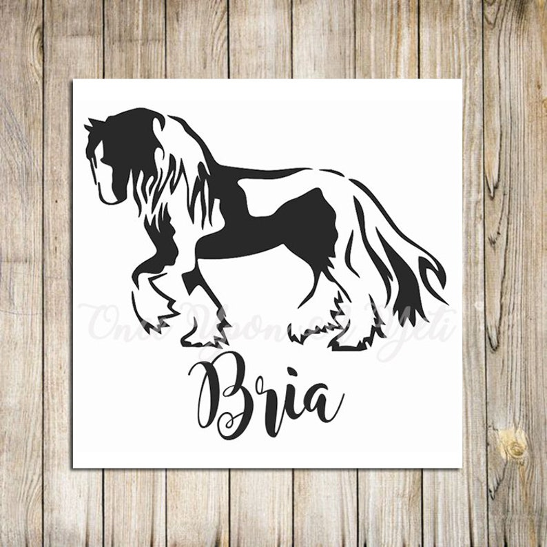 Gypsy Vanner Horse Decal with option of custom name   Horse Sticker   Horse  Car Decal   Gypsy Cob   Gypsy Vanner Sticker   Gypsy Horse Decal