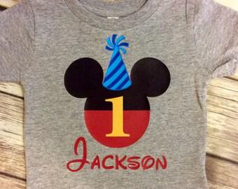 Gray Any Age Mickey Birthday Shirt, Disney Mickey First Birth T Shirt, Grey Mickey First Birthday Shirts, Mickey 1st Birthday shirt with hat
