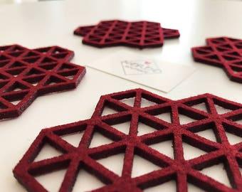 Wine Coaster | Scandinavian Design | Wine Red Coasters | Scandinavian Design Coasters | Red Wine Scandi Coaster | Red Wine Coasters