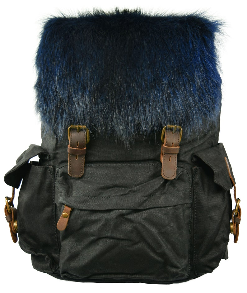 AuSable Fur Large Vintage Backpack and Rucksack with Blue Raccoon Accent