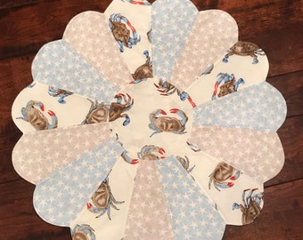 Fabric Centerpiece, Beach, Nautical, Quilted Table topper, Table Runner