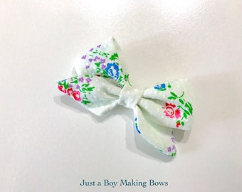 White Swiss Dot Floral Vintage Bow 50's Fabric JABMB