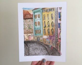 European Cobblestone Street Gicleé Watercolor Print