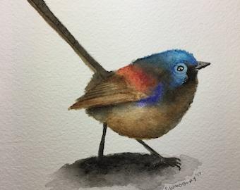 "Original Watercolor Painting bird 5x7"""