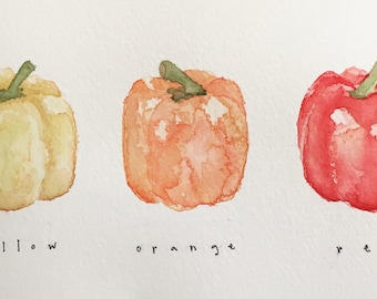 """Three Bell Peppers Original Watercolor Painting, 4x7.5"""""""
