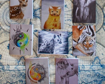 """Watercolor/Graphite/Charcoal Notecard Set of 10 - 5.5""""x4"""""""