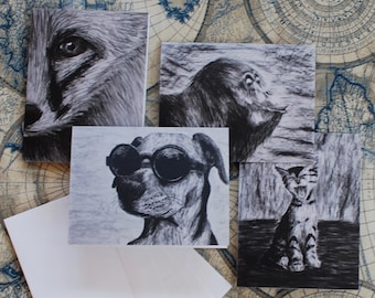 """Assorted Charcoal Notecard Set of 40 - 5.5""""x4"""""""