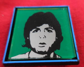 80s Paul McCartney Mirror Pin Back Button Vintage Wings Beatles