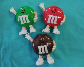 1991 Lot Of 3 m&m's Candy Dispensers 90s vintage