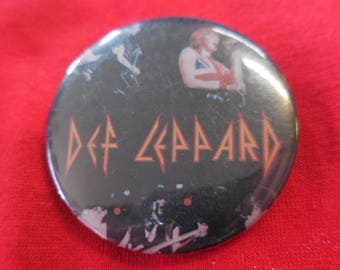 80s Def Leppard Pin Back Button Heavy Metal vintage