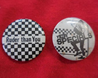 80s Lot of Two The Specials Pin Back Button Ska Rude Boy